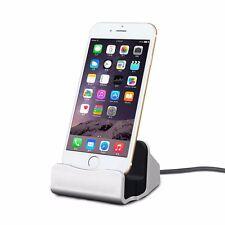 Dockingstation Tischladestation für Apple iPhone 5S 5C SE 6 7 7S 6S Plus Silber