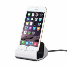 Docking Station Caricabatterie da tavolo per Apple iPhone 5s 5c se 6 7 7s 6s PLUS ARGENTO