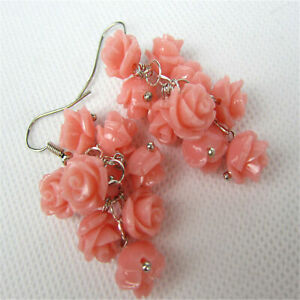 Fashion Pink Roses Real Coral Earring Tibet silver Ear DIY simple Popular