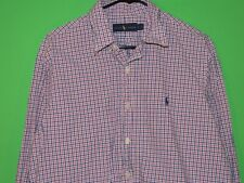 Polo Ralph Lauren Mens Size L Large Pink Plaid Button Front Long Slv Shirt