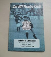 CARDIFF V BABARIANS-APRIL 21ST 1984--RUGBY UNION PROGRAMME