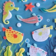 Korean 3D Dimensional Felt Fuzzy Funny Sticker World Seahorse Puffer Fish Bubble