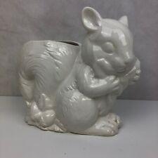 "New listing Cute White Glazed 6"" Florist Flower Pot Planter Squirrel Ceramic Figurine Vase"