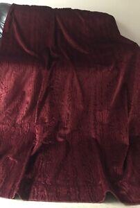 """Large Vintage Single Door Curtain Rich Claret Red Velvet 86"""" L x 78"""" W"""