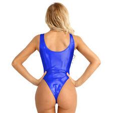Women's Leather Bodysuit Jumpsuit Leotard Swimwear Shiny Leotard Dance Clubwear