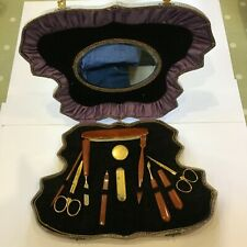 Vintage Art Deco 11 Piece  Manicure Set with Mirror - Butterfly Case