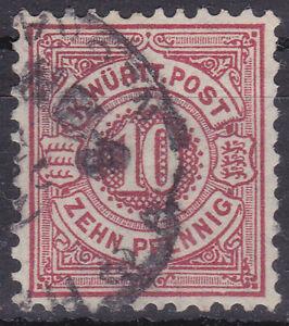 Altdeutschland / Württemberg Mi. Nr. 46b 1891 10 Kr Number in Circle Def. USED