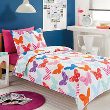BUTTERFLY BUTTERFLIES PURPLE PINK BLUE DOUBLE FULL bed QUILT DOONA COVER SET NEW