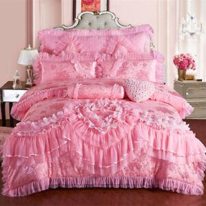 Pink Lace Princess Bedding Set King Queen Size Cotton Bed Duvet Cover Pillowcase