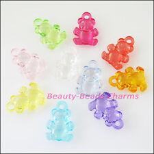 20 New Charms Plastic Acrylic Clear Animal Bear Pendants Mixed 15x20.5mm