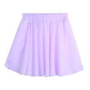 Kids Girls Dance Chiffon Skirt Basic Pull-On Ballet Tutu Skirt Skater Dancewear