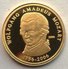 Togo 2006 Mozart 1500 Francs Gold Coin,Proof