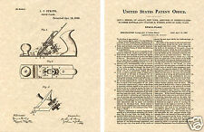 Vintage 1883 BENCH PLANE US Patent Art Print READY TO FRAME!! Antique Hand tool