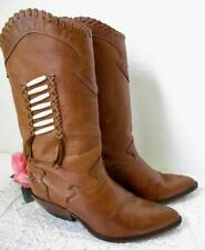 Vintage Zodiac Western Boots 8.5 M Cognac Brown Leather Indian Bone Bead Detail