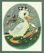 LOVELY C1960'S GREETINGS CARD GOLFING DUCK IN THE RAIN - WONDERFUL GOLF IMAGE