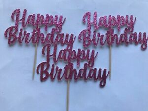Cupcake Toppers Happy Birthday party cake decorations Hot Pink Glitter 6 Pack
