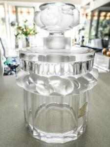"""Lalique Large """"Mesanges"""" Perfume Bottle Decorated with Small Birds-France Signed"""