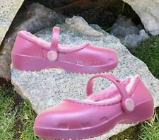 NWT Crocs Karin Toddler Girls Faux Fur Lined Clogs Party Pink Sparkly Size 7