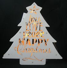 WOODEN WHITE CHRISTMAS TREE 8 CLEAR LED LIGHTS ILLUMINATES FRETWORK WORDS BAT OP