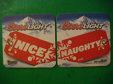 2011 Beer Collectible COASTER ~ COORS Light ~*~ NICE - NAUGHTY Holiday Name Card