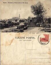 Tarjeta Postal. Huesca. Panorama y Puente sobre el Rio Isuela.
