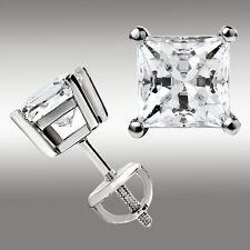 2.00 Ct. Princess Cut Stud Earrings w/Screw Back 14K White Gold Ideal