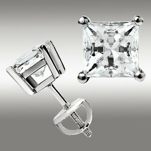 2.00 Ct. Princess Cut Stud Earrings w/Screw Back 14K White Gold Ideal