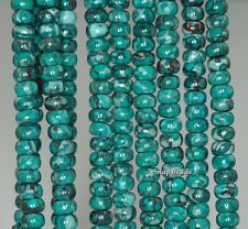 6X4MM  TOMBOLO TURQUOISE GEMSTONE BLUE RONDELLE 6X4MM LOOSE BEADS 16""