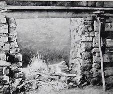 C.1930 Postcard Abraham Lincoln's Log Cabin Farm Inside Fireplace Hodgenville KY
