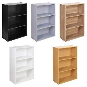 Wooden 3 Tier Wide Bookshelf Deep Bookcase Storage Unit Display Rack Home Office