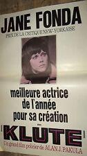 KLUTE  ! alan j pakula , jane fonda affiche cinema vintage 1971