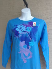 NWT Hanes  Graphic Cotton  L/S Crew Neck Tee Shirt  XL Blue with Flowers