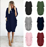 Womens Pocket Long Sleeve Oversized Stretch Loose Lady Pocket long sleeve dress