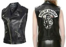 Women Biker Sons of Anarchy Vest Sleeveless Jacket Faux Leather Dominatrix look