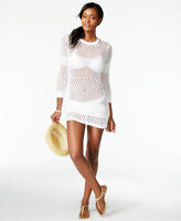 Tommy Bahama White Open Knit Zipper Side Swimsuit Cover Up Tunic L NEW $128