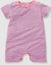 Baby girl pink stripe romper suit, 9-12 months, New