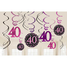 12 Sparkly Happy 40th Birthday Hanging Swirl/Cutout Pink Black Party Decorations
