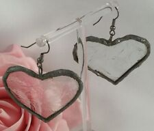 Vintage Jewellery Silver Heart Earrings made from Etched Glass Door Window Pane