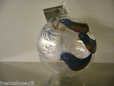 BLUE BIRDS ICE PALACE GLASS CHRISTMAS ORNAMENT BLUE & GOLD GLUCKSTEIN SET 10