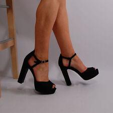 Faux Suede Upper Clubwear Block Unbranded Heels for Women