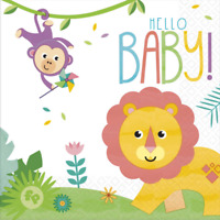 FISHER PRICE HELLO BABY LUNCH NAPKINS WILD SAFARI JUNGLE PARTY TABLE DECORATION