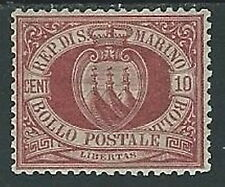 1894-99 SAN MARINO STEMMA 10 CENT MH * - M18-4