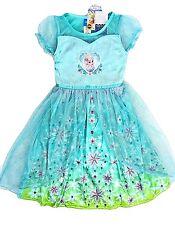 Disney 6 Elsa Nightgown New Girls Frozen Sparkly Short Sleeve Pajamas Costume
