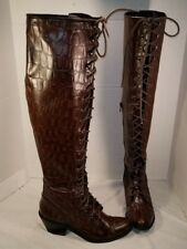 NWD FREE PEOPLE X JEFFREY CAMPBELL JOE LACE UP CROC EMBOSSED LEATHER BOOTS US 8