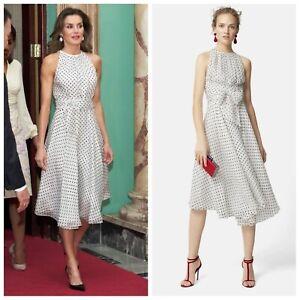 CH Carolina Herrera Silk White Black Spot Dot Halter Midi Dress UK12 US8 ASO