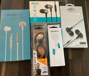 5 X Earphones - Includes Sony - Blukar - JVC - Betron - Myfone