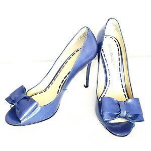 Enzo Angiolini Eamezzo Womens Blue Open Toe Bow Accent Patent Leather Size 6.5