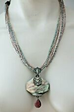 Multi-Color Beaded Strands Necklace Chico'S Brown Abalone Pendant &