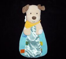 Taggies Blue Puppy Dog Baby Blanket Yellow Scarf Stripe Satin Tags Rattle Toy