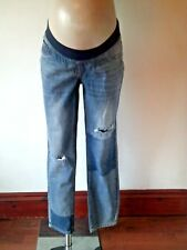 N£XT MATERNITY BLUE UNDER BUMP DISTRESSED PATCH SLIM SLOUCH JEANS SIZE 10 & 12